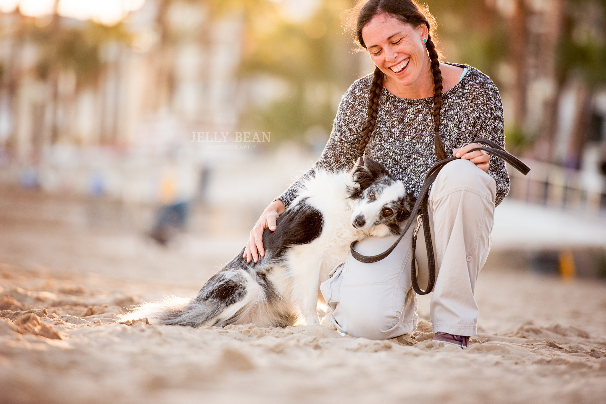 collie with woman