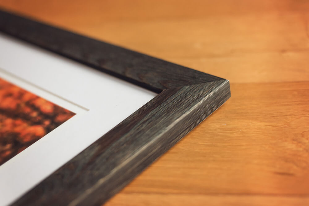 Fine art wooden frame in charcoal