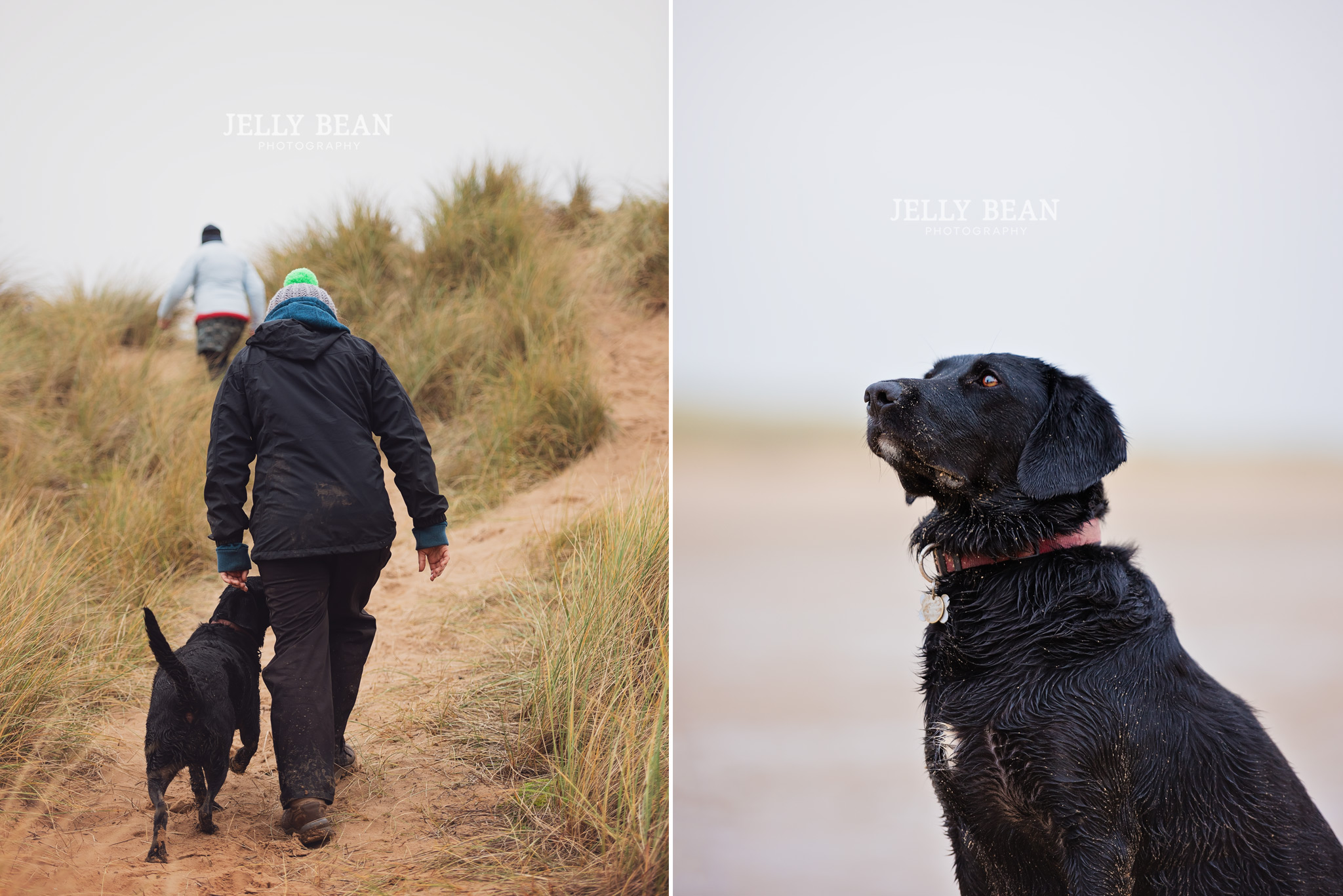 Girl walking up hill with black labrador
