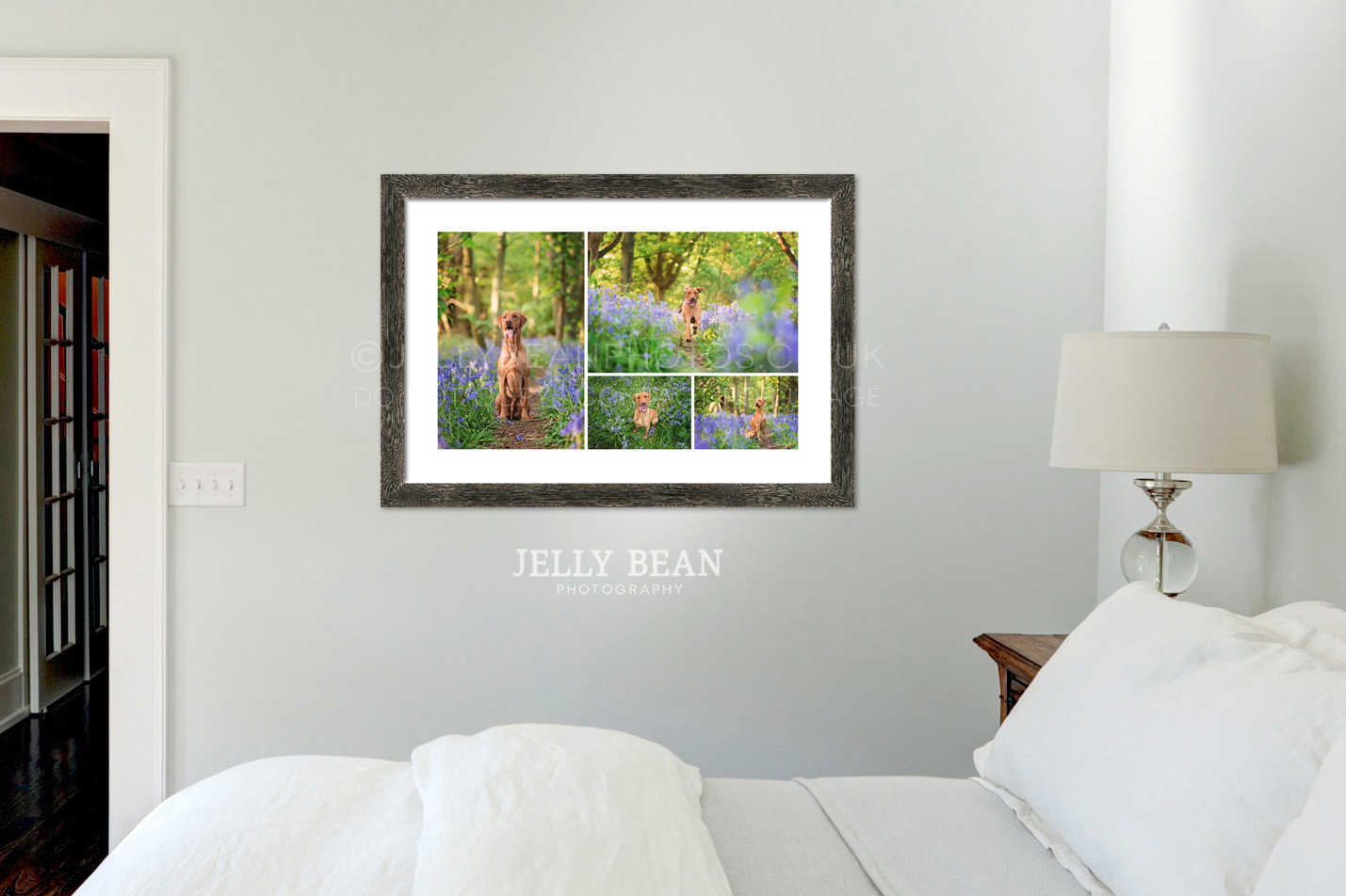Framed photographs on bedroom wall