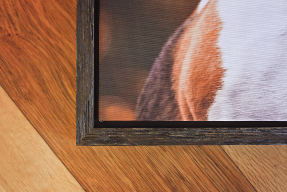 Corner detail of wooden framed canvas
