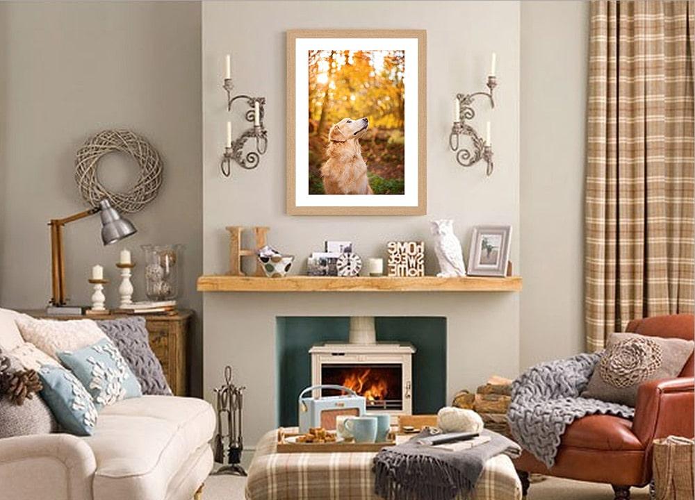 frame-of-golden-retriever-above-fireplace