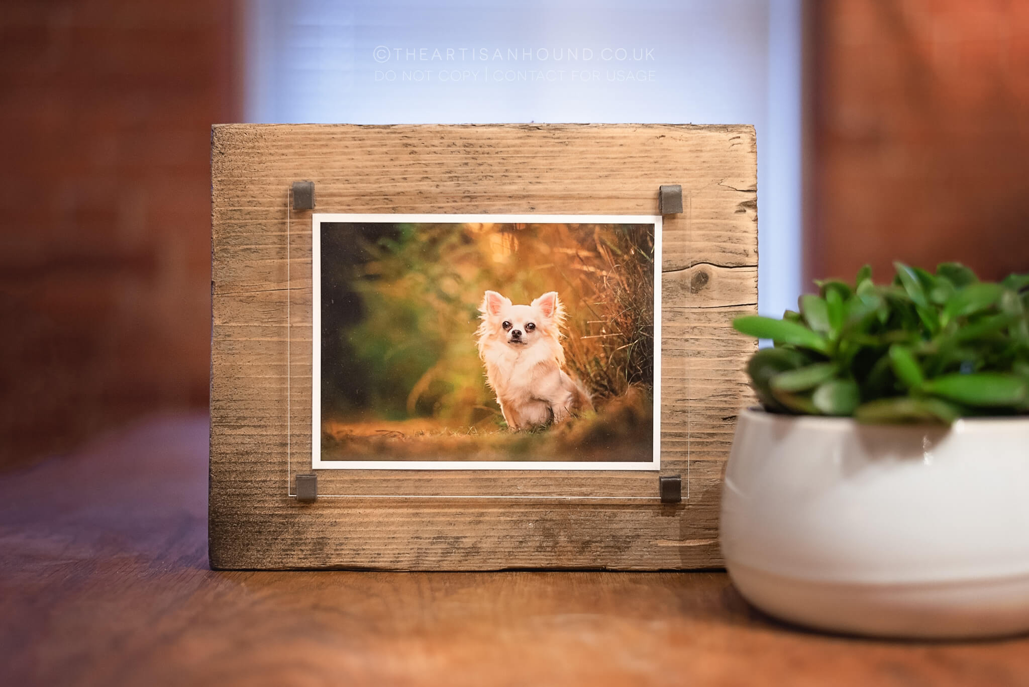reclaimed wooden photo block with fine art print