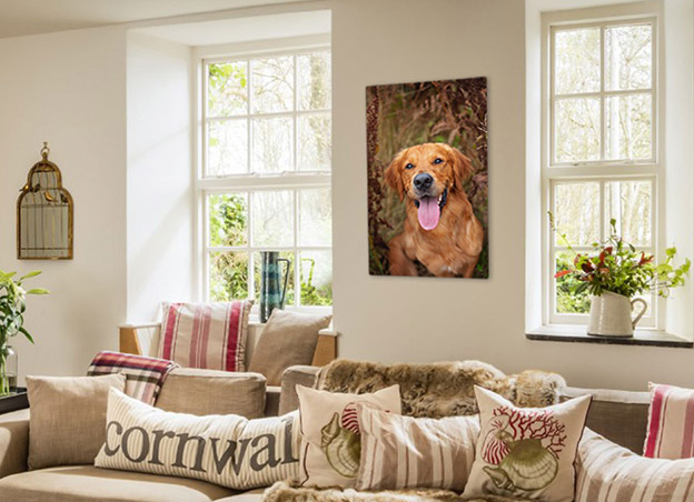 Metal wall art of Golden Retriever hanging on living room wall